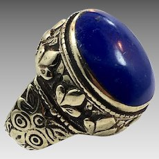 Lapis Ring, Kuchi Ring, Vintage Ring, Size 8, Afghan Ethnic, Brass, Nomad, Gypsy Jewelry, Statement Ring, Middle Eastern, Boho Bohemian
