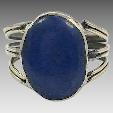 Lapis Ring, Kuchi Ring, Vintage Ring, Size 10, Middle Eastern, Afghan, Ethnic, Silver Brass, Nomad, Turkmen, Mens Ring, Signet Style, Old