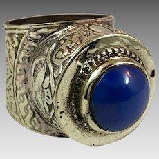 Afghan Ring, Blue Lapis, Kuchi Ring, Vintage Ring, Size 9 1/2, Brass