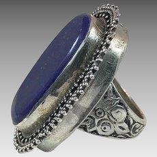 image 0 image 1 image 2 Lapis Ring, Kuchi Ring, Vintage Ring, Size 10 1/2, Afghan Ethnic, Silver, Nomad, Middle Eastern, Boho