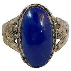 Lapis Ring, Kuchi Ring, Vintage Ring, Size 7 1/2, Afghan Ring, Ethnic, Brass, Middle Eastern, Etched, Nomad, Signet, Statement Ring