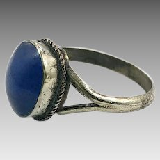 Lapis Ring, Kuchi Ring, Vintage Ring, Size 10, Afghan Jewelry, Silver Metal, Ethnic, Nomad, Middle Eastern, Old, Rustic Ring, Tribal