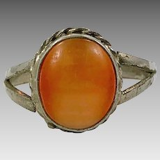 Afghan Ring, Orange Cat's Eye, Kuchi Ring, Size 9 3/4, Orange Glass, Patina, Old Ethnic, Gypsy Jewelry, Middle Eastern, Tribal, Statement