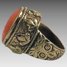 Afghan Ring, Orange Stone, Kuchi Ring, Vintage Ring, Brass, Ornate, Size 8, Nomadic, Ethnic, Signet, Tribal, Statement Ring, Unisex
