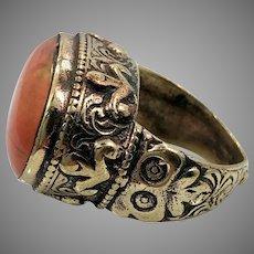 Afghan Ring, Orange Stone, Kuchi, Vintage Ring, Brass, Ornate, Size 8, Middle Eastern, Nomadic, Ethnic, Signet, Tribal, Statement