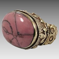 Afghan Ring, Pink Stone, Agate, Kuchi Ring, Vintage Ring, Size 8, Brass, Big, Middle Eastern, Large, Ethnic, Tribal, Statement, Turkomen