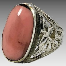 Afghan Ring, Agate Stone Ring, Kuchi Ring, Size 8 1/2, Pink Stone, Filagree, Old Ethnic, Gypsy Jewelry, Middle Eastern, Tribal, Statement