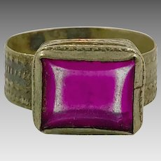 Afghan Ring, Aged Glass, Kuchi Ring, Pink, Vintage Jewelry, Old Ethnic, Belly Dance, Size 9, Tribal, Statement Ring, Unisex Turkmen