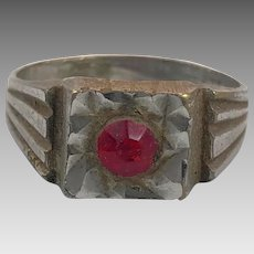 Gypsy Ring, Vintage Ring, Ruby Red Glass, Kuchi Ring, Size 9, Afghan Ethnic, Nomad, Turkomen, Bedouin