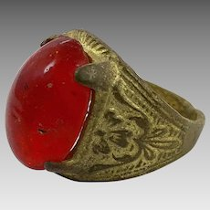 Red Kuchi Ring, Vintage Ring, Brass, Size 8, Heavy Patina, Afghan Ethnic, Gypsy, Signet Ring, Unisex Mens Mans, Boho Bohemian, Gypsy