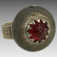 Red Kuchi Ring, Coin Ring, Vintage Ring, Middle Eastern, Heavy Patina, Afghan Ethnic, Size 9 1/2, Gypsy Jewelry