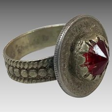 Red Kuchi Ring, Vintage Ring, Middle Eastern, Heavy Patina, Afghan Ethnic, Size 9 1/2, Gypsy Jewelry, Boho, Festival Jewelry
