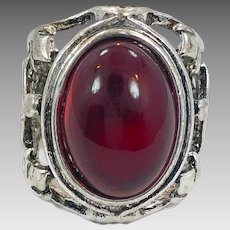 Afghan Ring, Kuchi, Vintage Ring, Size 8, Red Glass, Silver Metal, Afghan Jewelry, Mens Ring