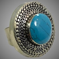 Afghan Ring, Kuchi, Vintage Ring, Size 8 1/2 ,Middle Eastern, Silver Metal, Composite Turquoise, Unisex, Big, Statement Ring