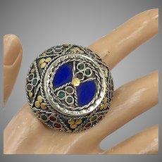 Turkish Ring, Red Enamel, Vintage Afghan, Kuchi Ring, Huge, Size 9, Kazakhstan, Bohemian, Massive, Oversized, Statement Ring