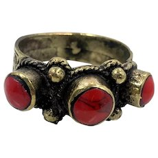 Jasper Ring, Afghan Ring, Vintage Ring, Size 10, Red Stone, Brass, Kuchi Ring, Middle Eastern Jewelry