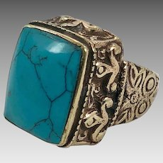 Turquoise Ring, Middle Eastern, Vintage Ring, Size 8, Brass, Kuchi Ring, Afghan Ethnic, Nomad, Gypsy Jewelry, Statement Ring, Boho