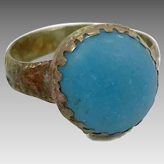 Turquoise Blue Ring, Kuchi Ring, Vintage Ring, Afghan Jewelry, Middle Eastern Ring, Size 8 1/2, Brass Ring