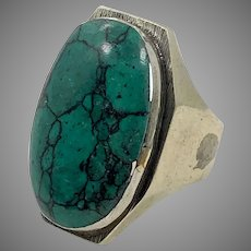 Turquoise Ring, Gypsy Kuchi, Vintage Ring, Afghan Ethnic, Middle Eastern, Nomad, Size 9, Turkomen