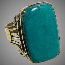 Turquoise Ring, Kuchi Ring, Vintage Ring, Size 11 1/2, Afghan Ethnic, Brass, Nomad, Signet, Mens, Statement Ring, Middle Eastern, Boho