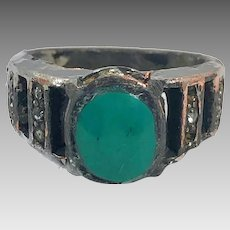 Turquoise Ring, Gypsy Kuchi, Vintage Ring, Afghan, Middle Eastern, Size 10 1/2