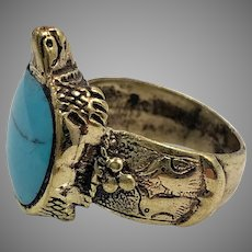 Turtle Ring, Afghan Ring, Turquoise Inlay, Kuchi Ring, Vintage Ring, Size 6, Middle Eastern, Brass