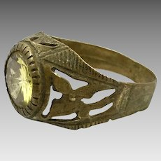 Afghan Ring, Vintage Ring, Brass Filagree, Gypsy, Yellow Glass, Kuchi Ring, Size 10, Ethnic, Statement Ring, Nomad, Turkomen, Bedouin, Boho