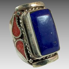 Lapis Ring, Tibet Ring, Red Coral, Vintage Ring, Nepal Jewelry, Tibetan Silver, Size 10, Mens Ring