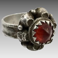 Old Silver Ring, Nomadic, Ruby Red Glass, Vintage Ring, Size 8 1/2, Swat Valley, Pakistan, Middle Eastern, Unisex, Gypsy, Boho Jewelry
