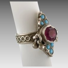 Old Silver Ring, Pakistan, Vintage Ring, Bells, Size 8 1/2, Turquoise, Pink, Glass Jewels, Swat Valley, Nomadic, Middle Eastern, Statement