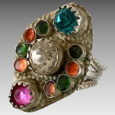 Old Silver Ring, Pakistan, Glass Jewels, Vintage Ring, Size 7 1/2, Middle Eastern, Pink, Green, Orange, Swat Valley, Nomadic, Statement Ring