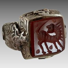 Intaglio Ring, Vintage Ring, Old Silver Ring, Red Agate, Size 9, Carved Stone, Animal, Middle Eastern, Signet, Nomadic, Unisex, Mens Ring