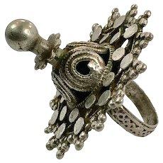 Middle Eastern, Old Silver Ring, Nomadic, Vintage Ring, Size 8, Swat Valley, Pakistan, Unisex, Gypsy, Boho Jewelry, Large, Big, Huge
