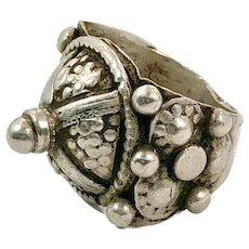 Old Silver Ring, Size 8, Vintage Ring, Domed, Nomadic, Middle Eastern, Swat Valley, Pakistan, Unisex, Gypsy, Boho Jewelry, Big, Large