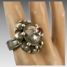 Old Silver Ring, Nomadic, Red Glass, Vintage Ring, Size 9, Afghan, Pakistan, Middle Eastern, Domed Ring