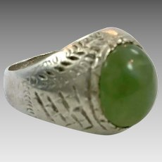 Kuchi Ring, Green Stone, Afghan Ring, Old Silver Metal, Size 7 3/4,Gypsy Boho, Nomad, Turkmen, Middle Eastern, Older Old, Mens