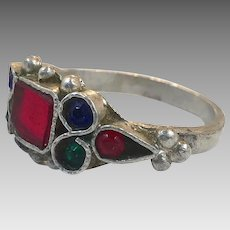 Jeweled Ring, Old Silver Ring, Nomadic, Vintage Ring, Size 10, Glass Jewel, Middle Eastern, Swat Valley, Pakistan