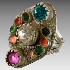 Old Silver Ring, Pakistan, Glass Jewels, Vintage Ring, Size 7 1/2, Middle Eastern, Pink, Green, Orange, Swat Valley, Nomadic, Statement Ring