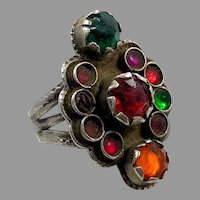 Afghan Ring, Old Silver Ring, Vintage Ring, Size 9 1/2, Kuchi, Gypsy, Nomadic Jewelry, Red, Green, Middle Eastern, Statement Ring