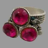 Old Silver Ring, Middle Eastern, Vintage Ring, Size 8, Pink, Glass Jewels, Nomadic, Swat Valley, Pakistan, Statement Ring, Afghan