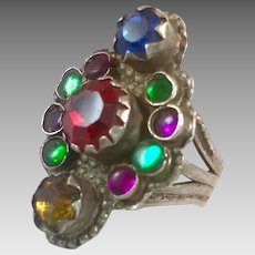 Old Silver Ring, Pakistan, Glass Jewels, Vintage Ring, Size 7, Red, Green, Long, Swat Valley, Nomadic, Middle Eastern, Statement Ring