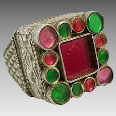 Old Silver Ring, Pakistan, Vintage Ring, Size 7 1/2, Fuchsia Glass, Green, Pakistan, Swat Valley, Afghan, Middle Eastern, Statement Ring