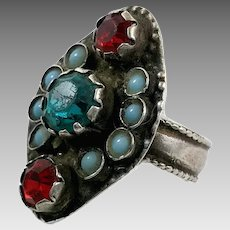 Gypsy Ring, Old Silver, Nomadic, Vintage Ring, Size 9, Teal, Red, Turquoise, Afghan, Pakistan, Middle Eastern, Unisex, Gypsy, Boho, Wide