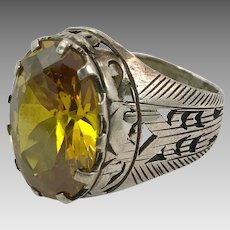 Afghan Ring, Old Silver Ring, Vintage Ring, Size 9 1/2, Faceted Jewelry, Faux Citrine, Mens Ring, Pakistan, Middle Eastern, Unisex, Gypsy