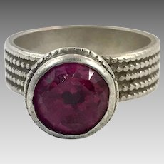 Old Silver Ring, Nomadic, Fuchsia Glass, Vintage Ring, Size 9, Swat Valley, Pakistan, Middle Eastern, Unisex, Gypsy, Boho Jewelry