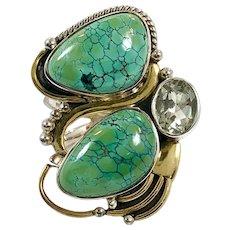 Turquoise Ring, Sterling Silver, Vintage Ring, Aquamarine, Designer, Aryo, Size 8, Mixed Metal, Big Ring