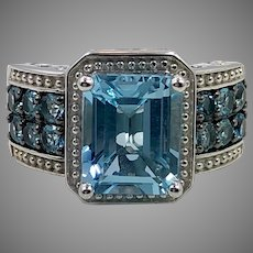 Blue Topaz Ring, Sterling Silver Ring, Size 6 1/2, Thailand, Blue Ring