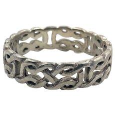 Celtic Knot Ring, Sterling Silver, Celtic Band, Vintage Ring, Irish Jewelry, Size 10, Irish Wedding Band