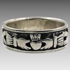 Claddagh Ring, Sterling Silver, Size 13, Vintage Ring, Ring Band, Irish Jewelry, Irish Wedding
