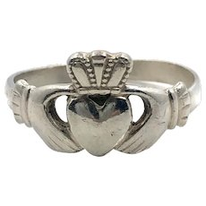 Claddagh Ring, Sterling Silver, Vintage Ring, Irish Jewelry, Celtic Ring, 925, Size 7 3/4, Irish Wedding, Heart, Crown, Hands